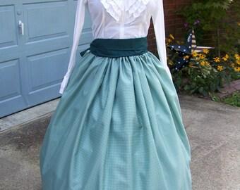 Victorian Christmas childs Skirt Civil War costume Long SKIRT and Sash one size fit all, Green and white checked taffeta and Sash Handmade
