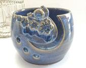 Ceramic Yarn Bowl - Bird Yarn Bowl with Flowers - Pottery Yarn Bowl- Yarn Holder for Knitting & Crochet - Knitting Bowl