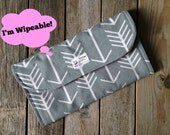 WIPEABLE Gray and White Arrow Diaper Clutch with Changing Pad - Gender Neutral - Modern - Baby Shower Gift - Boy - Girl - Pink