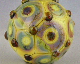 handmade lampwork glass bead a pastel orb focal in layered dots of color-shifting Terra and opal yellow - Mosaic Orb