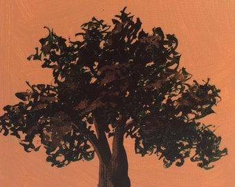 Tree Silhouette Block 114  - Original Acrylic Painting