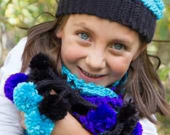 Girls Scarf with Pom-Pom Fringe/ Four color choices