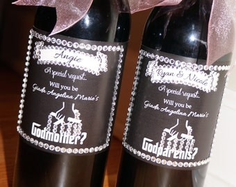 Digital File DIY Wine Label Will you be my GodParent?
