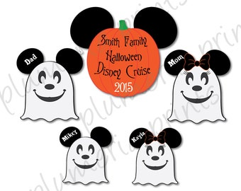 Handmade Disney Inspired Ghost Family Halloween Mouse Head Magnet Set for Disney Cruise