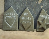 3 Concrete house shaped signs - Wedding Party