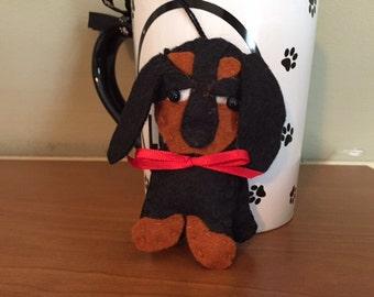 Dachshund Dog Ornament Hand Sewn In Wool Blend Felt, Canine, Wiener Dog, Ornie, Dog Lover, Dachie