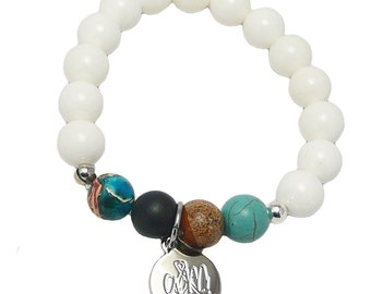 Handcrafted Bracelet Jasper and White Jade Beads andyANDmolly