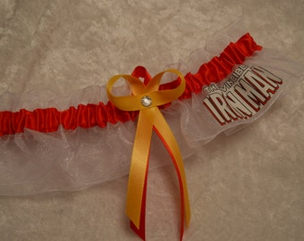 Handmade wedding garter keepsake IRONMAN Super Hero wedding garter