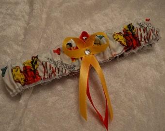 Handmade wedding garter toss IRONMAN Super Hero wedding garter