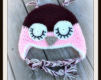 Sleepy owl hat, baby owl hat, crochet owl hat, Sleepy OWL Baby Hat  / Choice of Size / Ready to Ship
