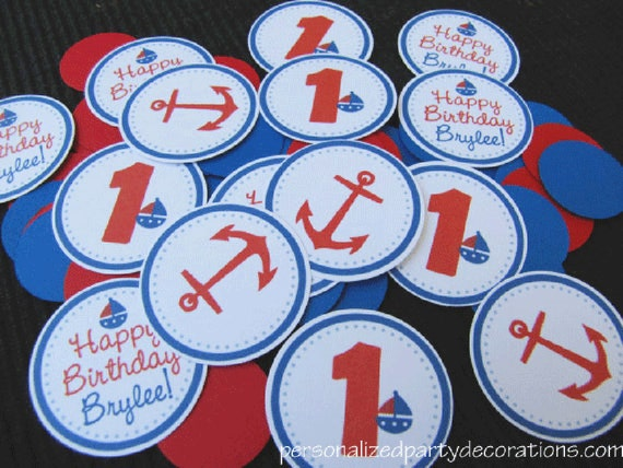 Nautical Birthday Party, Nautical Table Confetti, Birthday Party Decorations, Sailboat birthday party, Choose Colors