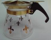 Mini PYREX Carafe Fleur de Lis small Pitcher Gold 1960s