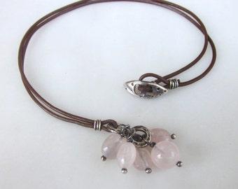 Pink quartz necklace, sterling silver gemstone necklace, leather necklace, organic necklace, modern necklace, cluster stone necklace