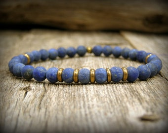 Beaded stretch bracelet for men blue lapis gemstone jewelry