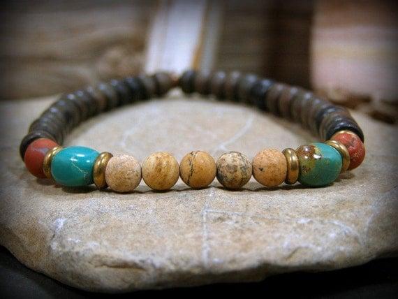 Mens Bracelet, Turquoise Bracelet, Wood Bracelet, Mens Jewelry, Jewelry for Men, Southwest Bracelet, Bracelets for Men, Native American