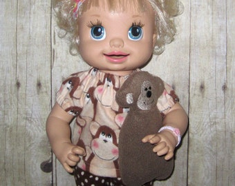 Snackin Sara Baby Alive Doll Clothes Monkey Pajama Set  Fits 15 16 Inch Doll   Doll Clothes Handmade Made in USA