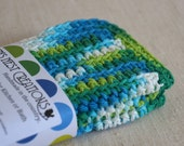 Dish Cloths, Wash Cloths, Cotton - Green and Blue - Crocheted 3 Piece Set