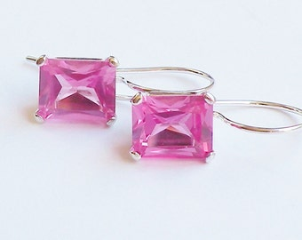 Hot Pink Sapphire, Lab Sapphire Earring, Lab Created Sapphire, Breast Cancer Pink, Mother's Day Gift, Big Gem Earrings, Octogon Cut Sapphire