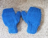 Knitted Kids Blue Convertible Fingerless Mittens  6 year old