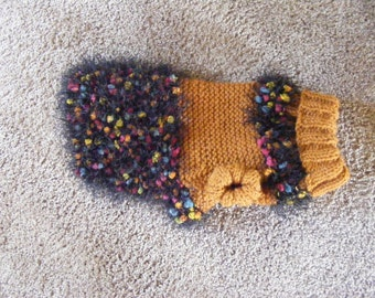 Knitted Gold Fancy Fur Dog Sweater