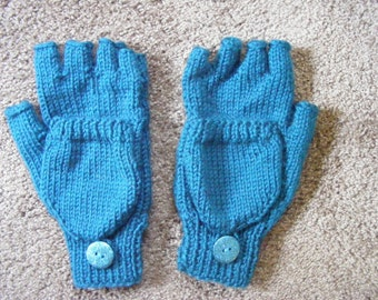 Women's Knitted Turquiose Convertible Fingerless Mittens Small