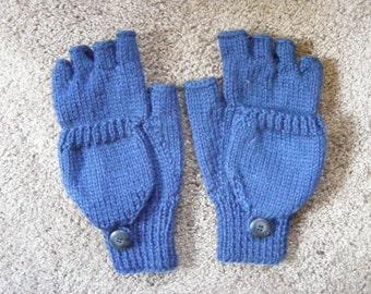 Women's Knitted Navy Convertible Fingerless Mittens Small