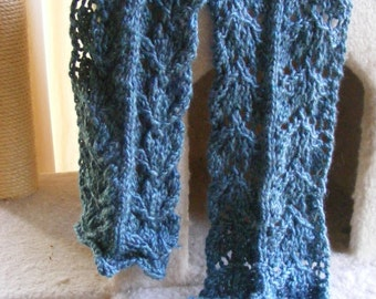 Knitted Blue Tidewater Lace Scarf