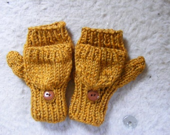 Knitted Kids Gold  Convertible Fingerless Mittens  4 Year Old