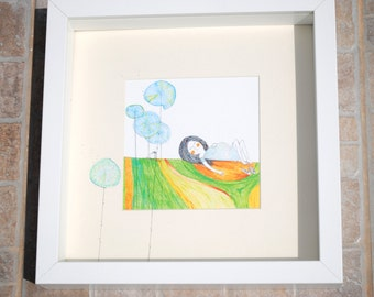 "Framed Mini Print ""The Waiting""- 9"" x 9"" white frame"