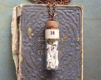 Bone Collector - Antique Glass Vial Pendant with Tiny Real Bones, Wearable Handmade Curiosity Necklace Gift Box