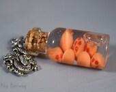 Dragon Balls Miniature Glass Bottle Necklace, Anime Fan Art Jewelry