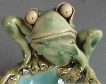 Whimsical Ceramic Frog Dish
