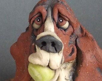 Basset Hound Dog with Tennis Balls on Rug Sculpture
