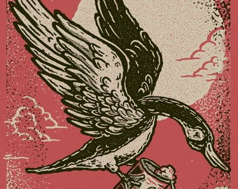 Silkscreen Print, Canadian Goose & Beer Screenprint 8x10