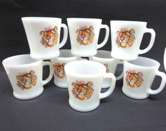 8 Fire King Glass Esso Tiger D Handle Mugs  Oil Advertising Set of 8