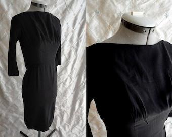 "60's Dress  // Vintage 1960's Black Dress by Jr Flair Size XS 23"" waist little black dress LBD"
