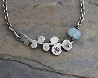 Aqua Marine Bracelet, oxidized silver, organic silver bracelet