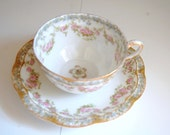 Reserved for Sandy Tea Cups - Cottage Chic - Pink Roses - French - Fine China - Haviland - Limoges - Antique