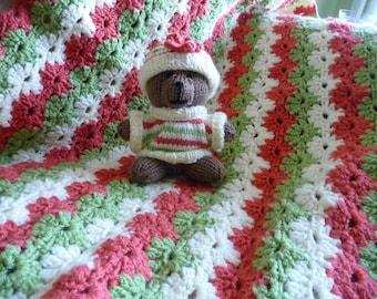 Hand Crochet Baby Blanket Gift set, Afghan, Baby Blanket with matching Teddy Bear, Baby Gift set, Baby Blanket