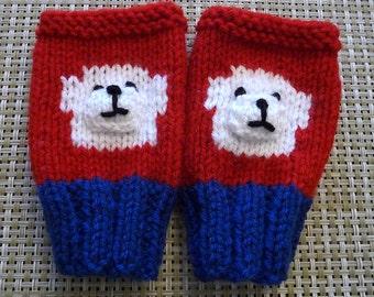 Hand Knitted Little Boy or Girls Fingerless Gloves