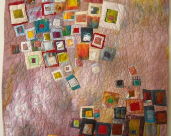 Encroachment mixed media textile art quilt