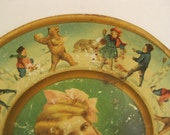 Antique/Vintage Metal Plate, Young Girl, Children Having A Snow Ball Fight With Bears, Unusual, 1907