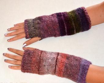 Boho Knit Arm Warmers, Fingerless Gloves