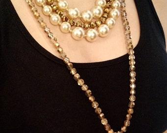 Two redesigned vintage pearls, faceted dorado glass, crystal quartz drop pendant necklaces