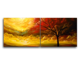 interior design yellow red abstract art painting large acrylic tree art original painting 22 x 56 - Mattsart