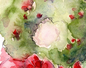 """Christmas Art Wreath Print from my Watercolor Painting - 5"""" x 7"""""""