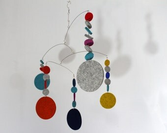 Mobile with Large and Small Felt Circles for your Modern Living Room or Nursery by Carolyn Weir of Skysetter Mobiles - READY TO SHIP
