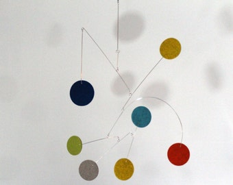 Mobile with Large Felt Circles for your Modern Living Room or Nursery by Carolyn Weir of Skysetter Mobiles - READY TO SHIP