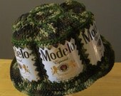 Crocheted Beer Can Hat - Modelo in Camouflage