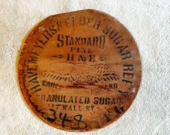 Antique Wood Granulated Sugar Barrel Lid Advertising Havemeyers & Finden Sugar Top